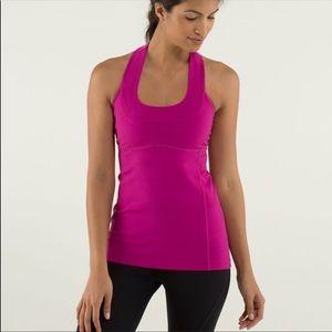Lululemon Athletica Raspberry Pink Scoop Neck Tank Luon size 4 EUC